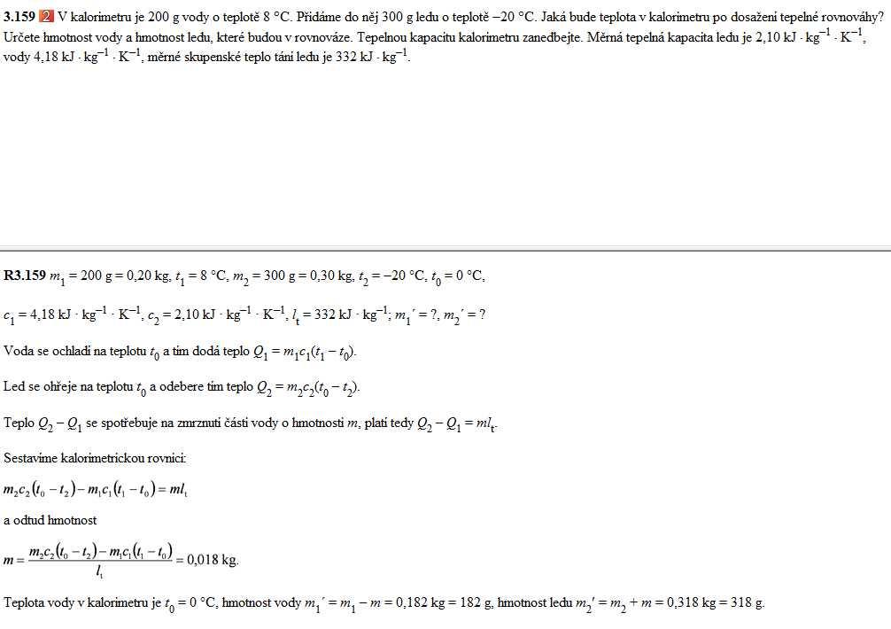 Kalorimetrická rovnice teorie